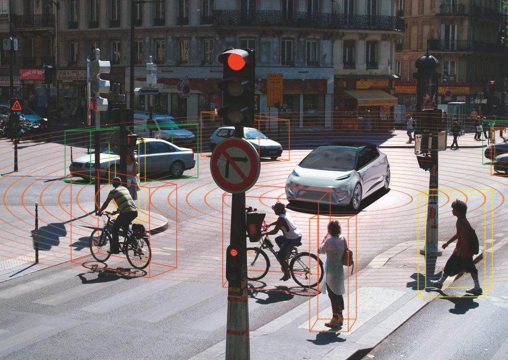 LiDAR-Systeme ermitteln über eine Laserpuls-Laufzeitmessung die Entfernung von Personen oder Gegenständen zum Fahrzeug.
