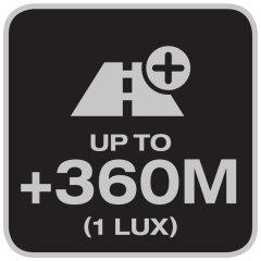 Distancia de iluminación hasta 360 metros