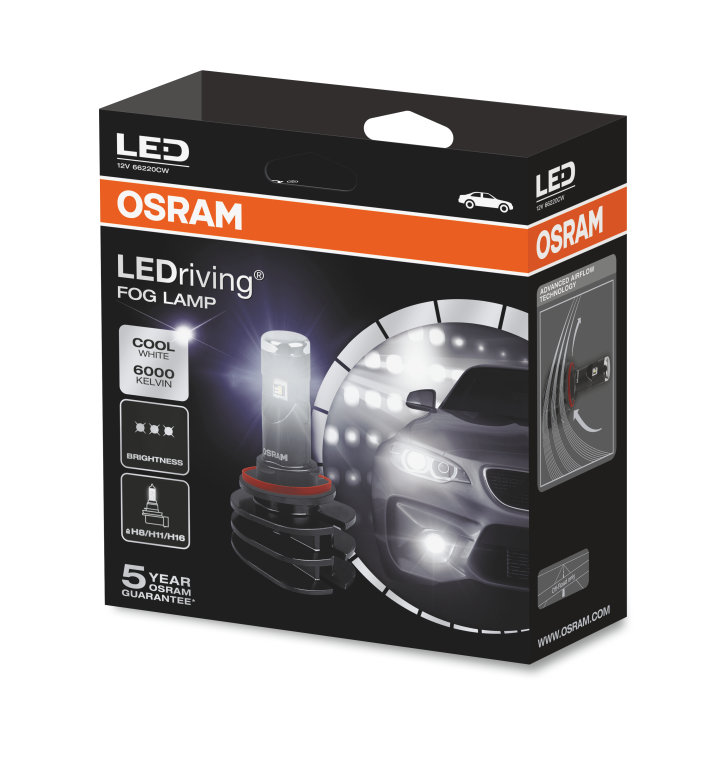ledriving fog lamp h8 h11 h16 66220cw 13w 12v osram. Black Bedroom Furniture Sets. Home Design Ideas